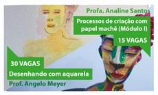 Créditos das artes: Aquarela - Angelo Meyer; Escultura em papel machê - Pollyana Araújo.